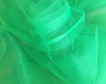 """Kelly Green Tulle Fabric 56"""" Wide Per Yard"""