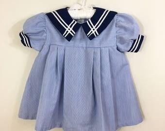 80s Girls Blue Sailor Collar Short Sleeve Party Dress, Size 2T