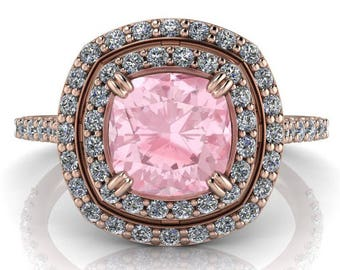 Morganite Cushion Cut Double Halo Engagement Ring Moissanite Setting