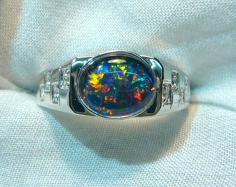 Mens Opal Ring Sterling Silver, Natural Opal Triplet. 10x8mm Oval . item 070924.