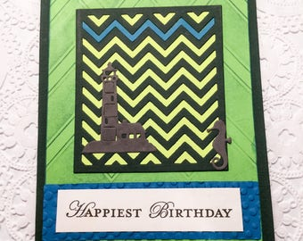 Handmade Thank You card - Unique cards - thank you for all you do - intricate - sea horse - lighthouse happiest birthday - masculine