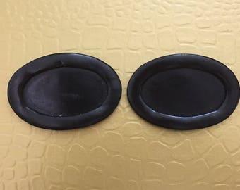 Vintage Oval Black Patent Leather Shoe Clip Vintage Functional Keepsake Shoe Accessory