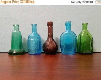 SALE - 5 Miniature Colorful Bottles