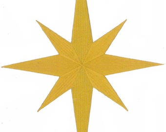 """10""""H Christmas Nativity Star - Bethlehem - Liturgical - Banners - Church - Embroidered Iron On Emblem Patch"""