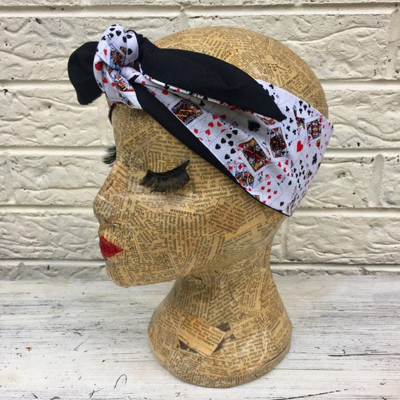 Playing Cards Casino Headscarf Rockabilly Pinup 1950's Inspired
