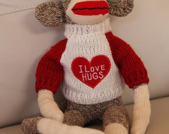 Handmade Rockford Red Heel Sock Monkey Wearing I Love Hugs Red White Sweater