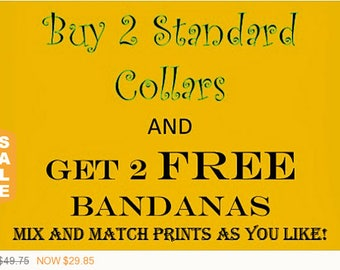 Puppy Love Sale - 40% Off Buy 2 Standard Dog Collars and get 2 Free Double Sided Bandana Package!, Dog Collar Set