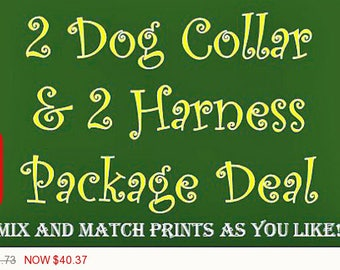 Sale - 50% Off 2 Dog Collar & 2 Harness Package - Dog Harness Set - Dog Collar Set