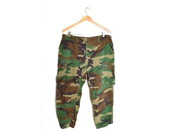 90s Camouflage Pants Green Army Cargo Mens Large Short
