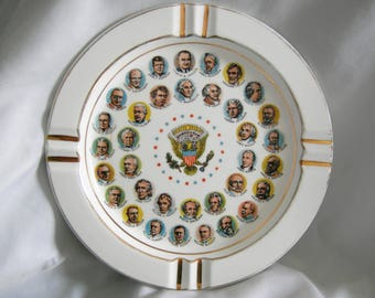 US Presidents Ashtray | Chadwick-Miller Importers | Made in Japan | Vintage 1966