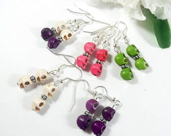 15% off Colorful Sugar Skull Earrings, Halloween Earrings, Day of the Dead Womens Jewelry, Skull Jewelry, Halloween Jewelry, Goth Earrings u