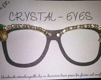Flamingo Crystal - Eyes Spec Trims inspired clip on eyeglasses decorative brow trim