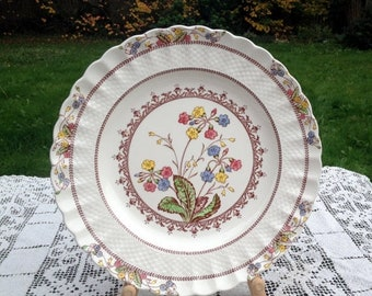 "17% OFF SALE Spode Copeland Cowslip Luncheon Plate 8 7/8"" Multi Color Flower Pattern on Ivory Fine China Chelsea Wicker Shape English Dinner"