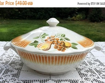 Save 15% OFF Faience of France/Luneville Casserole/Keller & Guerin/Pear and Fruit Pattern/Dishwasher Safe/ LUN14 Covered Dish/France