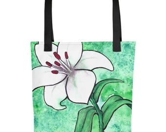 White Lily Watercolor - Tote Bag