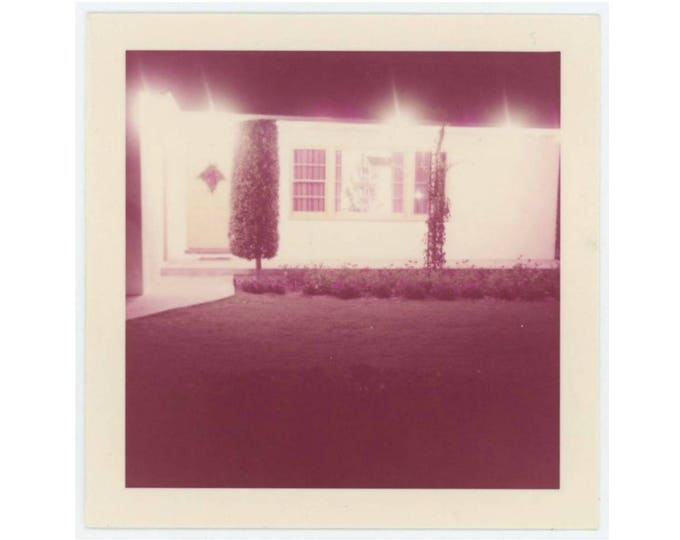 Vintage 1958 Kodacolor Photo Snapshot: House at Night (76588)
