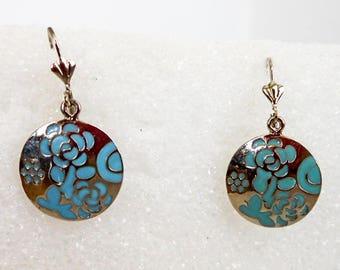 Vintage Blue Enameled Round Drop Earrings    Silvertone