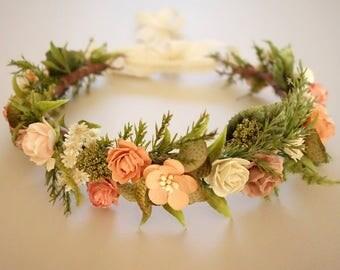 Spring Wedding, Bridal Flower Crown, Coral Wedding, Peach Bridal Crown, Blush Head Wreath, Floral Headdress, Boho Wedding