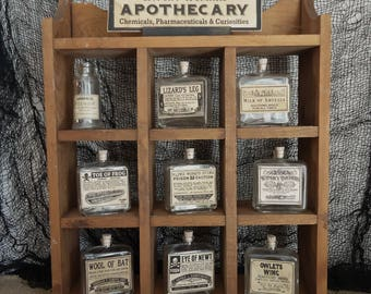 Halloween Apothecary display, pharmacy Haunted mansion, Gothic decor, Witch kitchen, curiosities, one of a kind, unique Halloween prop