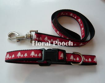 Dog Collar and Leash by Floral Pooch - 016 Red Trees (Christmas)