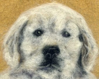 Needle felted puppy print