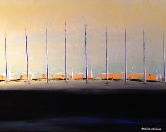 "ORiGiNAL 36 x 24 Landscape ABSTRACT  -""Orange Horizon""  original Acrylic Paint on canvas   -  36"" X 24""   (# 17-8060)"