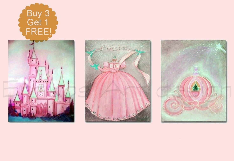 Princess nursery decor girl nursery art baby girl nursery for Baby girl nursery paintings