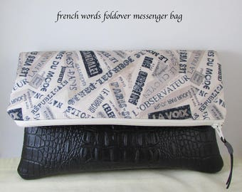 Clutch Bag - French Words Fabric - Great Gift Idea - Paris Evening Bag Handbag - Wristlet Bag with Black Vinyl Bottom - Purse - Gift Idea