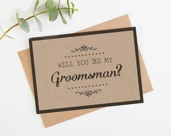 Will You Be My Groomsman Card - Kraft Rustic