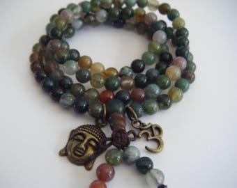 Spiritual Inspirational Healing Mala Necklace/Bracelet Indian Agate Beads Buddha OM Oneness Cosmic Eco Beads Yoga Meditate Consciousness