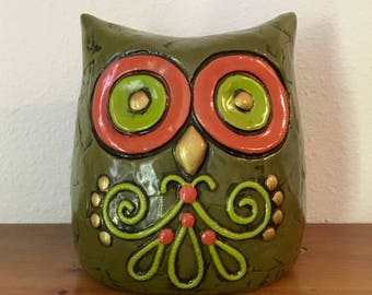 Owl Piggy Bank Fitz and Floyd, 1960'2 Owl Bank, Owl Decor, Green Owl Bank, Retro Owl Bank, Cute Owl Bank