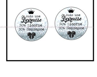 """2 glass cabochon,""""I'm a Licornasse"""", ideal for making earrings, Keychain, rings..."""