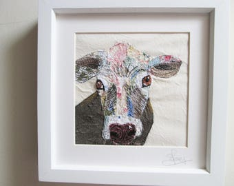 textile art cow picture, fabric collage, embroidery, Daisy the cow, ready to frame