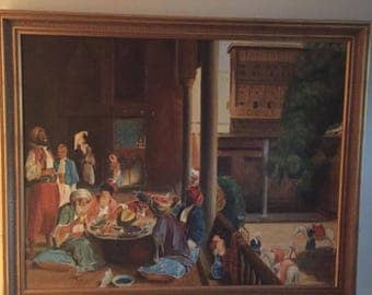 Vtg Large 42x34 Orientalist oil painting PERSONAL