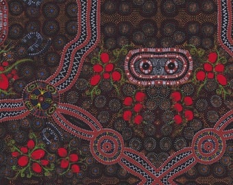 M & S Textiles, Australian Aboriginal Fabric, Bush Food, Red, 100% cotton
