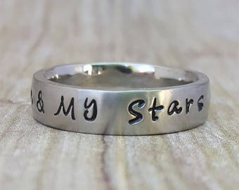 Name Ring, Personalized Ring, Hand Stamped Ring, Wedding Band, Promise Ring, Initial Ring, Custom Ring, Stamped Jewelry, 5mm Brushed Band