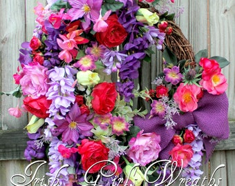 Spring Wreath, French Country Floral Wreath, Purple pink Wreath, English Cottage Garden Wreath, Fuchsia Rose Wisteria Clematis Summer floral