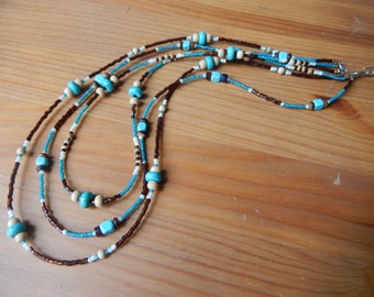 Beaded Three Layer Necklace - Brown and Teal - Hippie, Bohemian, Earthy, Natural, Handmade Jewelry- Layered Necklace -