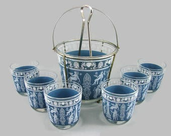 Jeannette Glass Hellenic Ice Bucket in Chrome Holder, Chrome Tongs and 6 Rocks Glasses, Grecian Blue and White Bar Set