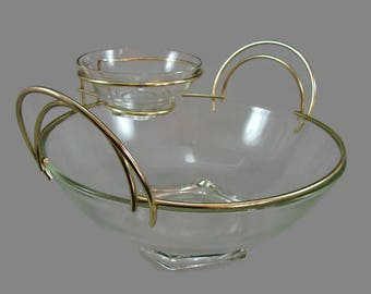 Jeannette Art Deco Chip & Dip Set In Original Box, Retro Mod Glass and Gold Metal Bowl Set