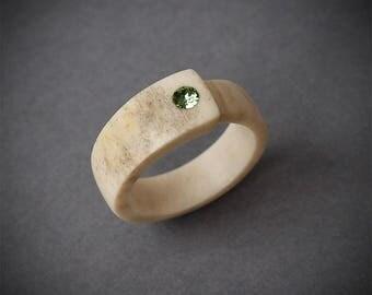 Size 7 US, Antler ring, Inlaid Swarovski crystal, Elk antler ring, Moose antler, Bone ring, Antler jewelry, Bone jewelry, Swarovski ring