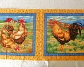 Rooster Chicken Fabric, Pillow Panel, Cotton Quilt Fabric, Fabri-Quilt OOP, Good Morning Patt #8895, Destash, DIY Supply, Farmhouse Chic