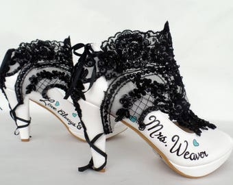 Wedding Shoes - Black&White lace Booties