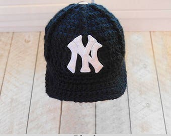Yankees baby Hat, Baby boy cap, Newborn hats, Baby Boy Hats, Baby boy clothes,  crochet hat, baby boy gift