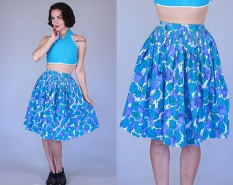1950s Immortal Blue skirt | vintage 50s rose print cotton skirt with tulle lining | xs