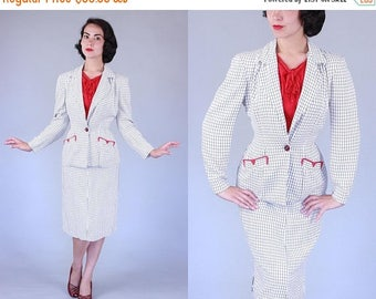 25% OFF 1950s Insulux suit | vintage 50s white summerweight suit with navy windowpane & red details | xs/s