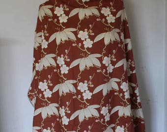 Brown cotton fabric Japanese with cherry blossoms