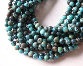 "4mm Natural turquoise beads - 16"" strand of natural non-dyed turquoise rounds, small natural turquoise beads, 4mm round turquoise, strand"