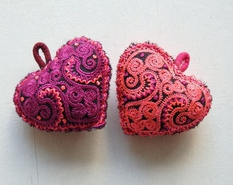 Hmong handmade heart - ONE embroidered heart in MAGENTA or bright PINK, heart decoration, ethnic craft supplies, small heart pillow - 1 pc.