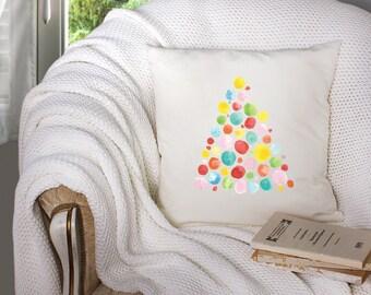 christmas throw pillow - watercolor christmas tree - christmas tree pillow - modern christmas tree watercolor - modern christmas tree decor